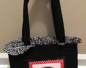 University of Georgia Quilted Fabric Tote-Style Handbag