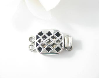 1 PC - 2 Strand Sterling Silver Clasp, Double Strand Box Clasp, Jewelry Supplies