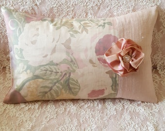 "Beautiful Pink Floral Overlaid with Chiffon and Pink Linen Hand Sewn Pillow by Pamela ""Ooh La La"""