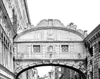 "Printable art, digital art 300 dpi 24x36 8x12 ""PONTE DEI SOSPIRI"" (Bridge of Sighs)"