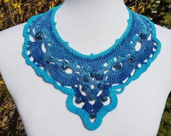 Crochet Chandelier Necklace with Rhinestone Beads - Handmade
