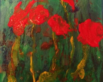 Poppy Flowers in May #1 - Original Acrylic Painting on Paper