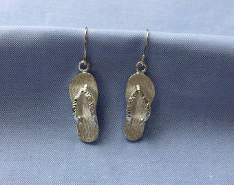 Sterling Silver Flip Flop Earrings