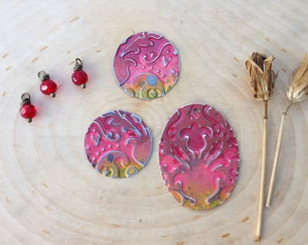 Embossed jewelry components- collection #5 - florals & red bead dangles