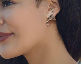 Crystal Wedding Earrings, Silver Earrings, Vintage Wedding, Art Deco, Unique, Climbing Zig Zag Earrings, Silver Bridal Jewelry E1347