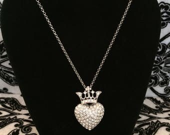 Crystal Heart with Crown Necklace