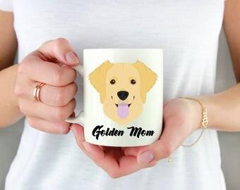 Golden Retriever Custom Dog Coffee Mug. Personalized Watercolor Dog Lover's Gift