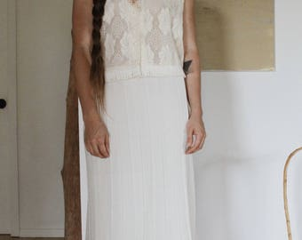 Vintage Lace - Fringe Cream Vest / Top