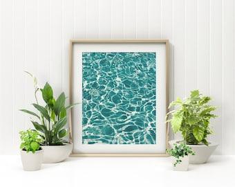 Water Aesthetic Photo Print, Blue Ocean or Pool Photography, Minimal Printable Design