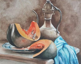 "Watercolor - Stll Life ""Melons"",Instant download"