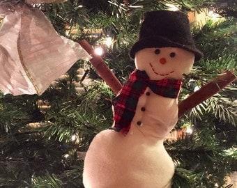 Handmade Rustic Country Stuffed Christmas Winter Snowman