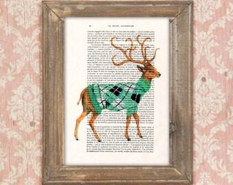 Winter deer print,sixties, dandy deer, Oscar Wilde,  deer painting, deer illustration, antlers, stags, hunter print