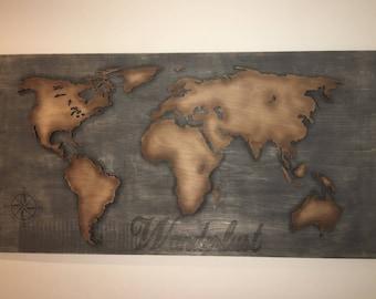 2'x4' Vintage 3D World Map