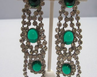 Vintage Clip on Emerald and Rhinestones Earrings.