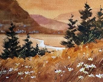Golden Valley - Original Watercolor Painting