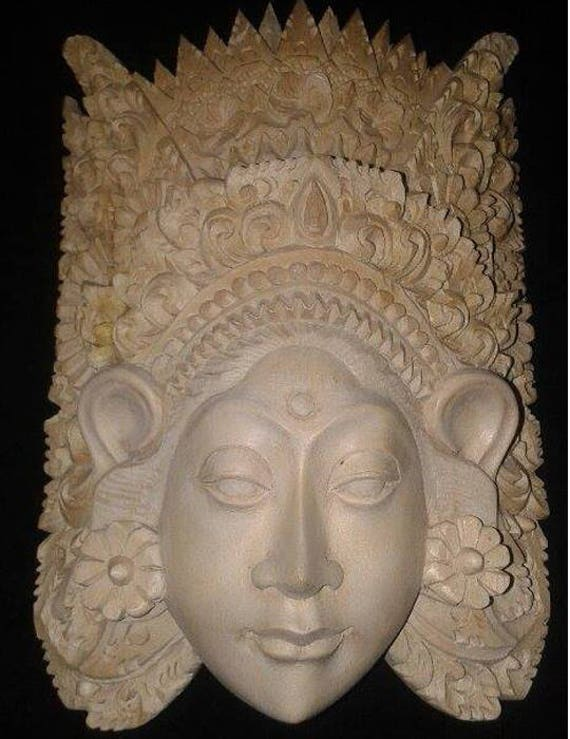 Wood carving balinese rice goddess mask face handmade wall
