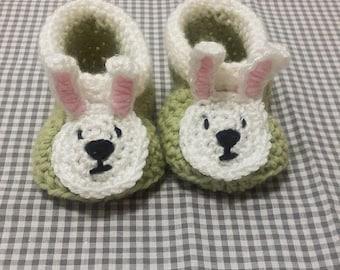 Handmade Baby Gift    Crochet Baby Booties   Easter Booties   Spring Gift   Baby Shower Gift   New Baby   Baby Boy   Baby Girl   Woodland