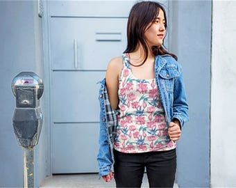 Oriental Flowers Women's Tank Top Flower Pattern Tank Top Floral Tank Top Witty Novelty