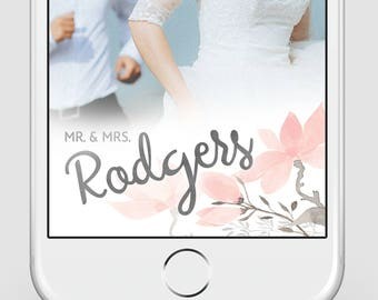 Custom Snapchat Geofilter | Wedding Snapchat Geofilter | Delicate Blush + Silver Floral Watercolor | Snapchat Filter