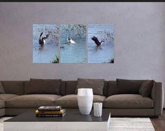 Canadian Goose Triptych wall art, Triptych Canvas Gallery Wrap, Wild Bird Fine Art, Wildlife Wall Decor, Canvas Wall Art,Home Decor wall art