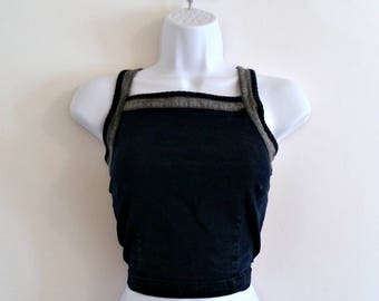 Vintage 90s Crop Top Denim Bustier  Size S Grunge Fitted Shirt Blue Jean Belly Shirt 1990s Cropped Tank Retro Dark Cotton Vest Navy