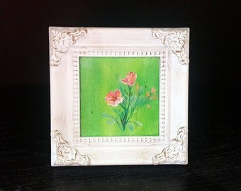 Flowers miniature acrylic painting with frame