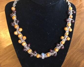 Beaded hemp necklace with boro focal.