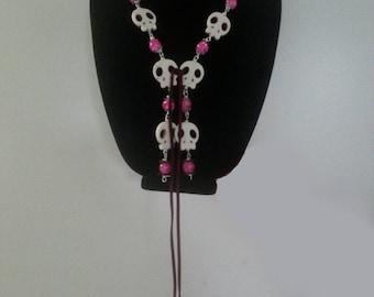 Tibetan Yak Bone Punk Chic Pink Necklace & Earrings