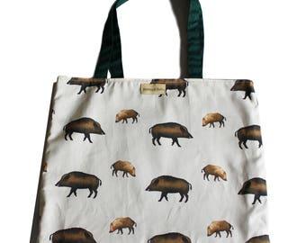 Wild Boars Print Cotton Shopper Bag