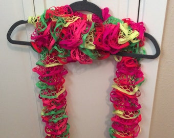 Neon hand knitted scarf