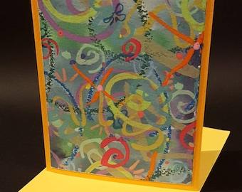 Handmade greeting card, Modern greeting card, Ready to frame greeting card, Card as gift, OOAK greeting card, Hand painted greeting card
