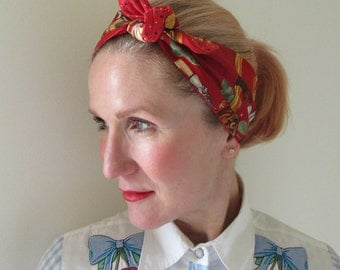 Retro inspired hairscarf, headscarf, bandana, scarf with Cowgirl with horse and guitar print. Two-sided wearable. Red
