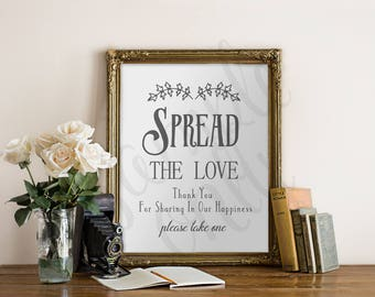 Spread the Love, PRINTABLE, Sign, Wedding, Bridal Shower, Baby Shower, Seeds, Favours, Favors, Jam, Jelly, Home Made, Table Sign, DIY, Decor