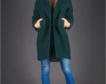 Green jacket womens Green winter jacket Womens green coat Dark green coat Green Coat Winter Coat Coat wool coat long coat womens coat womens