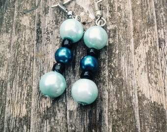 Blue and Pearl Earrings