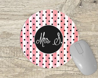 Monogram Mouse Pad - Round mousepad - pink and white stripes - Personalized Gift for her - black polka dots Mousepad - watercolor stipes