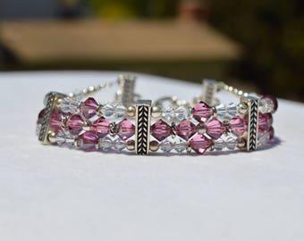 Swarovski Crystal 3 Strand Beaded Bracelet