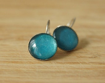 Cabochon earrings 14 mm aquamarine blue