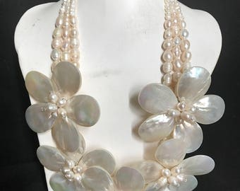 Handmade pearl & mother of pearl floral impact necklace