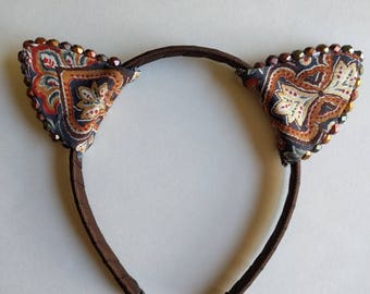 Paisley Earth Tones | Cat Ears Headband / Nekomimi