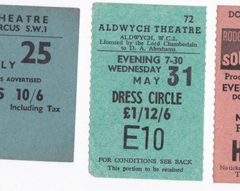 Various Theatre Tickets London 1950s