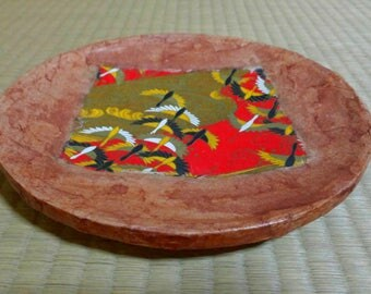 "Paper Mache Bowl ""Ikkanbari"", traditional japanese hand craft - artwork - accessory container - decoration"