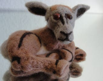 LEWIS ** Only Handmade, merino wool and polished stone, sitting creature, timid and shy, sweet and loving ** FREE SHIPPING