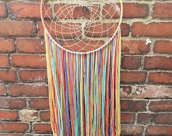 Large - handmade rainbow dreamcatcher - rainbow - handmade gift - dream catcher - boho - home decor - wall hanging