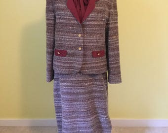 Tweed Suit Dress by Rona; Burgundy; 1960s Vintage; Size Large/XL