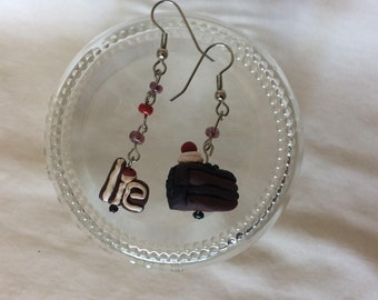 Portal The Cake is a Lie fishhook earrings- chocolate