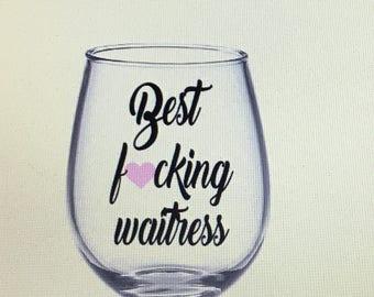 Waitress gift. Waitress wine glass. Gift for waitresss. Waitress. Server gift. Server wine glass. Hostess gift. Hostess wine glass