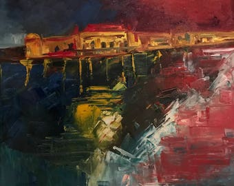 BudaPest #OilPainting #PalaceonWater #Reflections #Night #Destination #ColorsAtNight #Palace #Water #River