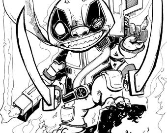Stitch Pool Destroy! Deadpool Stitch mashup A5 Print