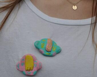 Little blue fella pin/brooch /clay pin/ clay brooch/ handmade pin/ handmade brooch